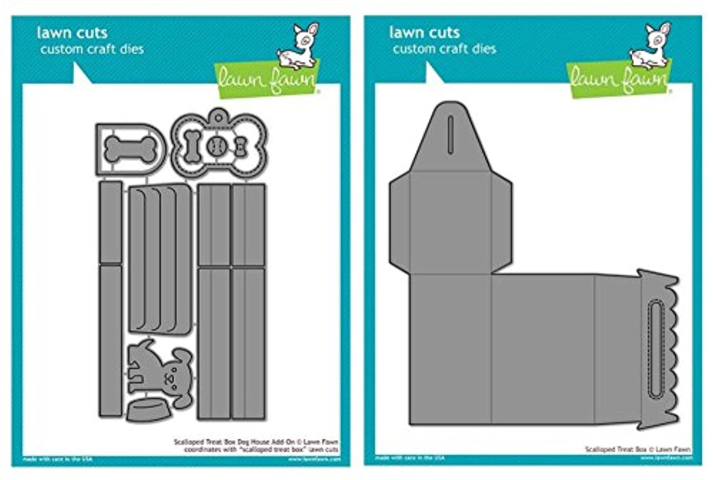 Lawn Fawn Dog House Scalloped Treat Box Die (LF1704) and Scalloped Treat Box (LF1232) Two Piece Bundle – All you need to make Dog Treat Box