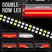 """AMBOTHER 60"""" Truck Tailgate Light Bar Double Row LED Flexible Strip Running Turn Signal Brake Reverse Tail light for Pickup Trailer SUV RV VAN Car Towing Vehicle,Red/White,No-Drill,1 yr warranty"""