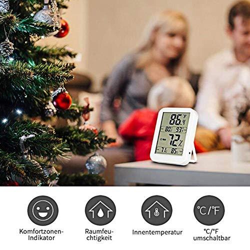 Fancylande Digitale hygrometer voor binnen, LCD-display HD en hoge gevoeligheid, omschakelbaar in Celsius/Fahrenheit, voor een nauwkeurige temperatuur voor huis, kantoor, kas 12 x 10 x 3 cm