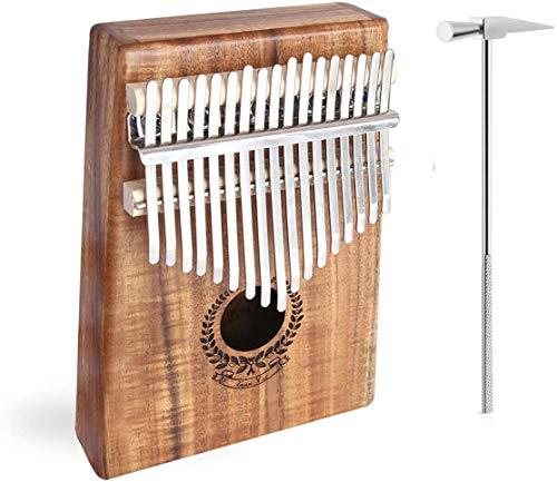 XYQB Daumen-Klavier mit 17 Tasten, Fingerpiano aus massivem Girlanden-Design Akazienholzkörper ohne Lautsprecherschnittstelle