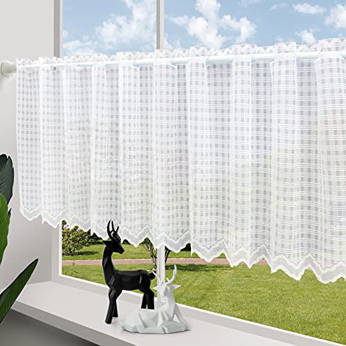 ZHH Lace Window Valance Square Lattice Short Curtains for Window Livingroom Sheer White Cafe Curtain 38-Inch by 60-Inch
