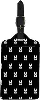 Pinbeam Luggage Tag Puppy French Bulldog Pattern Frenchie Animal Outline Face Suitcase Baggage Label