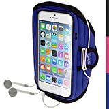 iGadgitz U3156 Sports Gym Jogging Funda Compatible con teléfono móvil Brazalete Caso Negro, Azul -(Brazalete Caso, Apple, iPhone 6, Negro, Azul)