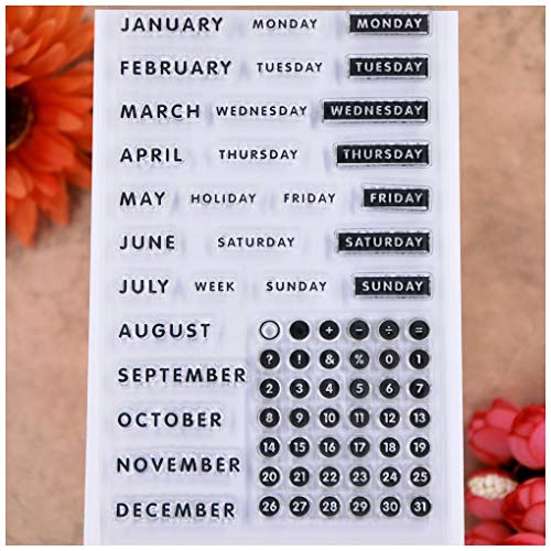 KWELLAM Words Calendar Week Month January December Monday Sunday Numbers Clear Stamps for Card Making Decoration and DIY Scrapbooking