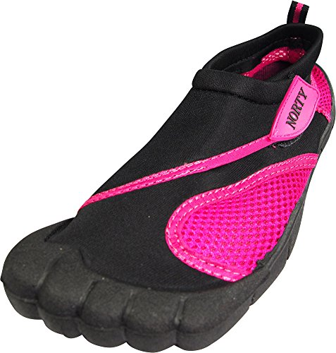 NORTY - Womens Skeletoe Aqua Water Shoe, Grey, Fuchsia 38904-5B(M) US