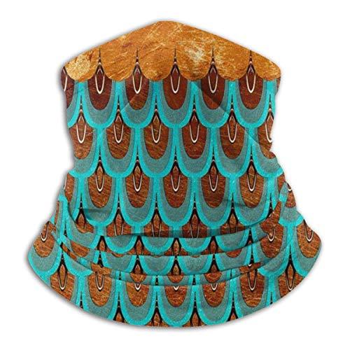 Tour de Cou Cagoule Microfibre Chapeaux Tube Masque Visage, Fleece Neck Gaiter Green Mermaid Fish Scale Outdoor Knit Headwear Wool Snow Ski Caps,for Man