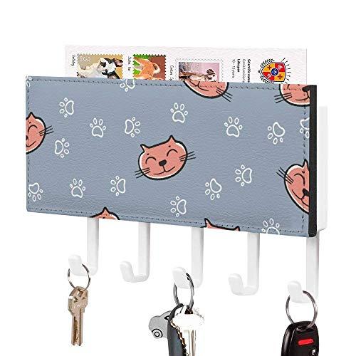 Soporte para llaves, gancho para colgar en la pared, diseño de caras de gato naranja con huellas de gato, soporte para correo de entrada de pared, organizador de llaves decorativo con 5 ganchos