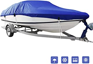 IC ICLOVER Boat Cover,Heavy Duty Waterproof Snowproof Anti-UV Trailerable Cover for V-Hull,TRI-Hull,Pro-Style,Fishing Boat,Runabout,Bass Boat-All Weather Protection.