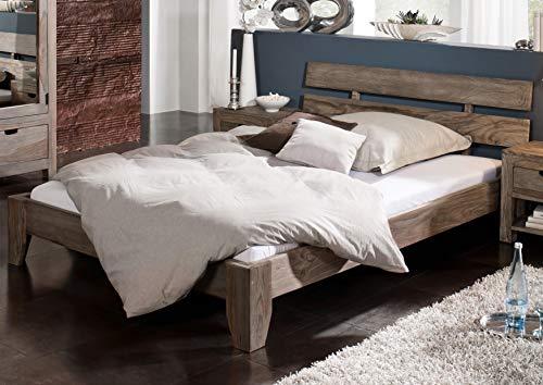 MASSIVMOEBEL24.DE Palisander Holz massiv Bett 160x200 Sheesham Massivmöbel Nature Grey #211