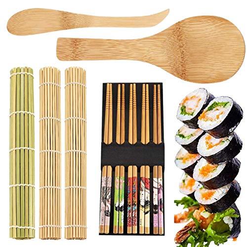 3PCS Sushi Bambusmatte,OSUTER Sushi Set mit Essstäbchen Spreizer und Reis Paddel Bequem Langlebig Sushi Maker für Profis und Anfänger