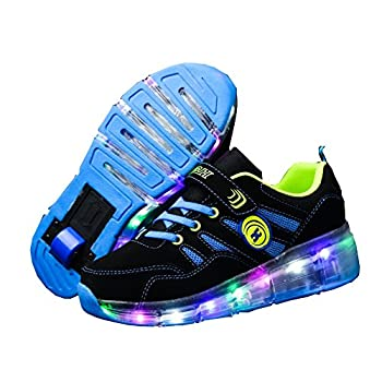 Ufatansy Roller Shoes LED Fashion Sneakers Kids Girls Boys Light Up Wheels Skate Shoes Comfortable Mesh Surface Thanksgiving Christmas Day Best Gift 13M US Little Kid,A72Blue