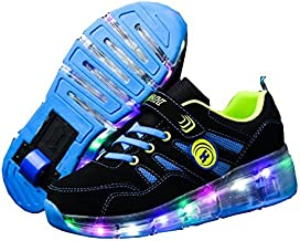 Ufatansy Roller Shoes LED Fashion Sneakers Kids Girls Boys Light Up Wheels Skate Shoes Comfortable Mesh Surface Thanksgiving Christmas Day Best Gift(13M US Little Kid,A72Blue)