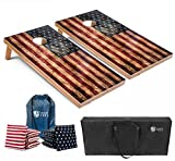 Tailgating Pros Cornhole Boards - 4'x2' & 3'x2' Cornhole Game w/Carrying Case & Set of 8 Corn Hole Bean Bags w/Tote (4'x2' Distressed Boards)
