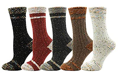 Bienvenu Lady's 5 Pairs Thick Winter Outdoor Socks Home Daily Casual Socks, Knit Pattern 5