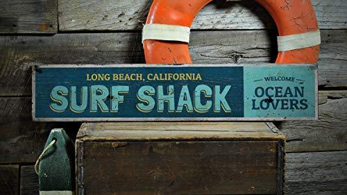 Ced454sy Surf Shack Schild, Surf Shack Dekor, Surfen Dekor, Surfer Geschenk, Beach House Decor, Surfer Dekor, Geschenk, Rustikal gedrucktes Holzschild Dekorationen