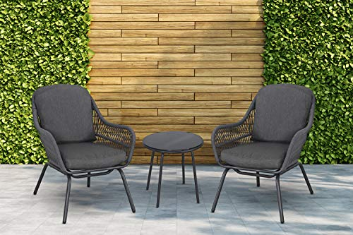 Mod Skylar 3-Piece Outdoor Bistro Chat Set with 2 Rope Chairs, Grey