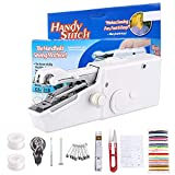 Mini machine à coudre manuelle - 41 pièces - Machine à coudre portable - Vainqueur du test pour les débutants, les enfants - Petite machine à coudre électrique pour textiles - Rideau blanc