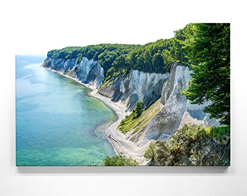 BilderKing Atemberaubendes Ostsee Panorama Leinwand-Bild 120x60cm, Motiv Kreidefelsen Rügen. EIN einzigartiges XXL Wandbild als Deko für Wohnzimmer, Schlafzimmer, Küche. Aufgespannt auf Holzrahmen