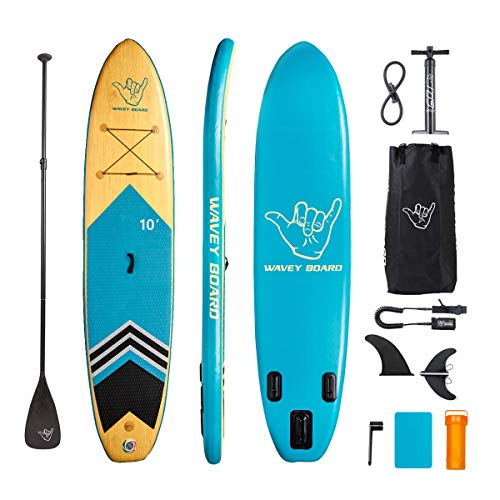 "WAVEY BOARD 11' Inflatable Stand Up Paddle Board with Premium SUP Accessories & Easy Carry Bag & Bottom Fin & Paddle| 11' Long 30"" Wide 6"" Thick SUP Package 