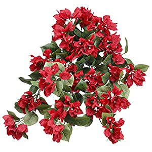24″ Bougainvillea Silk Hanging Flower Bush -Red (Pack of 6)