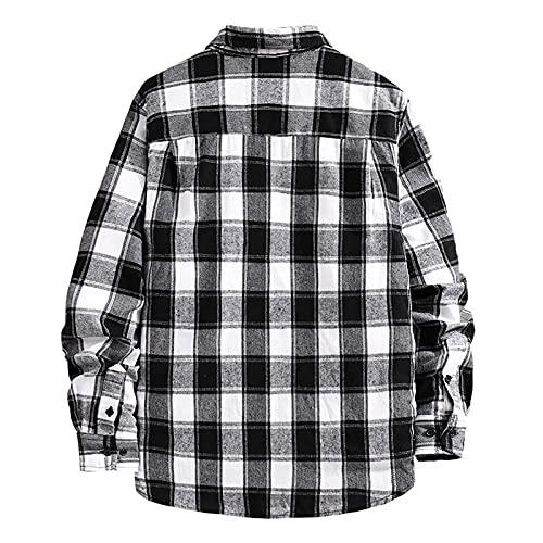 D-Rings Camisa de franela para hombre, de corte regular, de manga larga, a cuadros, Negro , L
