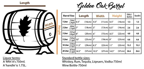 2 Liter Whiskey Oak Barrel for Aging – Golden Oak Barrel with Brass Hoops – Aging and Recipes Digital Guide included
