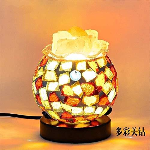 Lixin Tafellamp Rock Zout Lamp Hand Gesneden Roze Kristal uit Puur Zout in De Himalaya voor Rust, Ontspanning en Energie Houten Basis