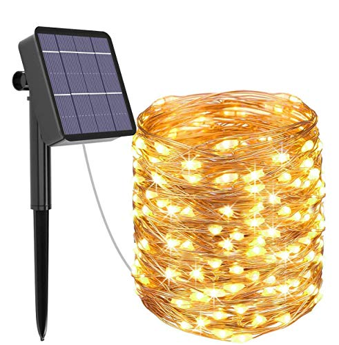 Kolpop Solar Fairy Lights Outdoor, 79ft/24m 240 LED Solar String Lights Garden 8 Modes Copper Wire Fairy Lights Decorative String Lights for Patio, Gate, Yard, Wedding, Party Decoration (Warm White)