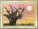 清水信行『桜宵(M20号)』日本画 風景画 花鳥画 さくら 櫻 SAKURA 満月 月夜 幻想的 肉筆 直筆【真筆 絵画】【B4739】