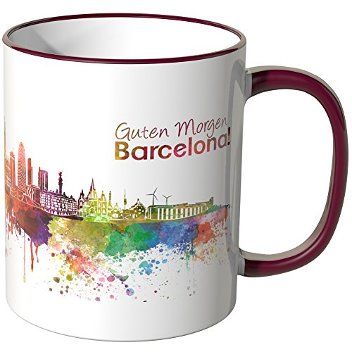 WANDKINGS® Tasse, Schriftzug Guten Morgen Barcelona! mit Skyline - Bordeaux