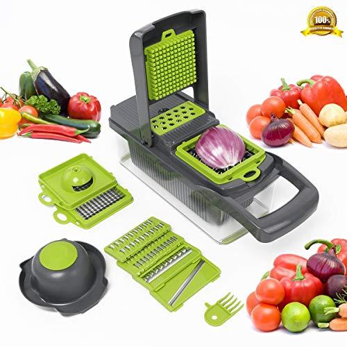 8 in 1 Gemüseschneider, Zwiebel Zerkleiner, Küchenhelfer Edelstahl Klingen, Obst und Gemüseschneider Zwiebelschneider, Käse Cutter, Ideal zum Hobeln von Obst und Gemüse