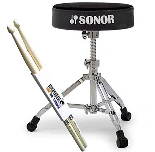 Sonor DT 4000 Drumhocker DT4000 Schlagzeug Hocker + keepdrum Drumsticks 1 Paar