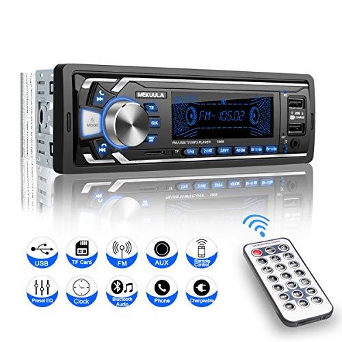 Autoradio con vivavoce Bluetooth, 1 DIN universale con microfono integrato, 4 x 60 W, radio stereo per auto Ricever, USB/TF/FM/AUX/WMA/WAV/MP3 Media Player