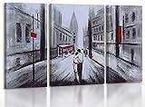 YS-Art | Cuadro Pintado a Mano Un Amor | Cuadro Moderno acrilico | 135x70 cm | Lienzo Pintado a Mano | Cuadros Dormitories | único | 3-Partes