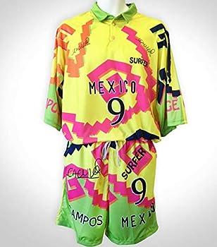 Soccer Jorge Campos Jersey/Green/Yellow Manga 3/4 seleccion Size Medium