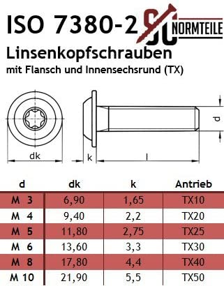 ISR SC7380-2TX Flachkopfschrauben rostfreier Edelstahl A2 V2A Vollgewinde Linsenkopfschrauben mit Flansch und Innensechsrund - ISO 7380-2 TX - M6x30 - 25 St/ück Flanschschrauben