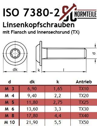 50/tornillos de cabeza plana con brida y V2A ISR de/acero inoxidable A2 /- ISO 7380-2 TX