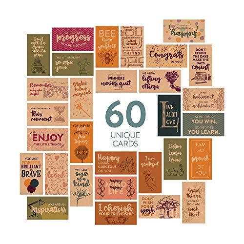 DiverseBee 60 Pack Assorted Inspirational Kraft Cards - Motivational Kindness Mini Note Cards, Encouragement Affirmation Card Set, 60 Unique Motivational Quotes (Business Card Size and Blank Back)