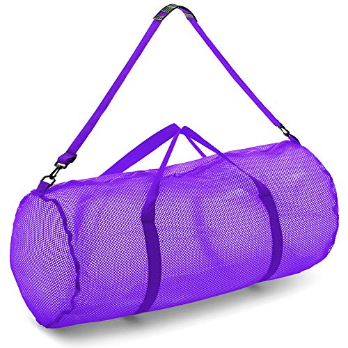 """Champion Sports Mesh Duffle Bag with Zipper and Adjustable Shoulder Strap, 15"""" x 36"""", Purple - Multipurpose, Oversized Gym Bag for Equipment, Sports Gear, Laundry - Breathable Mesh Scuba and Travel Bag"""