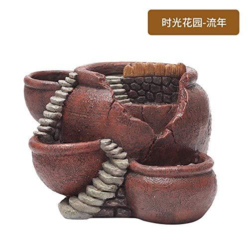 WANG Time Garden Home Gardening Potted Micro Landscape Resin Meaty Bonsai Flowerpot,1