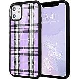 Idocolors Girly Case for 6 plus/6S Plus,Design Soft Silicone Bumper&Aluminum Hard Back Anti-Fall Shockproof Protective Cover Cute Retro Purple Plaid Print Case for iPhone 6plus/6S Plus