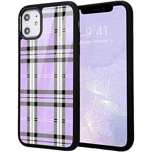 """Idocolors Case for iPhone XR, 6.1""""Soft Soft Flexible Silicone&Aluminum Hard Back Shockproof Back Protective Cover,Cute Personalized Retro Purple Plaid Print Girly&Boys Cases for iPhone XR"""