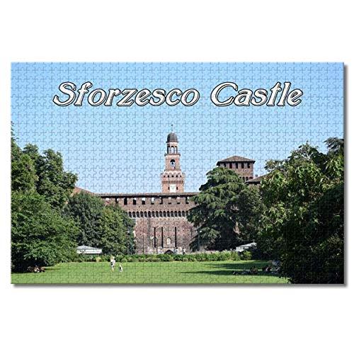 Nicoole Castello Sforzesco Milano Italia Puzzle per adulti Bambini 1000 pezzi Gioco di puzzle in legno per regali Decorazione domestica Souvenir di viaggio speciali