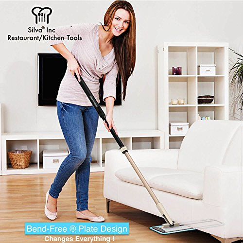 "Silva Microfiber Mop Floor Cleaning System - Hardwood Floor Mop + 2 Washable Pads- Laminate, Tile, Walls, Vinyl - 18"" Dry/Wet Dust Mop"