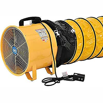 """12"""" Portable Ventilation Fan with 16' Flexible Ducting"""