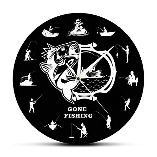 gongyu Reloj de Pared Moderno para Pescar, Reloj de Pared Decorativo para Pescadores con lubina, Divertido, Hombre, Cueva, decoración del hogar, Regalo para papá