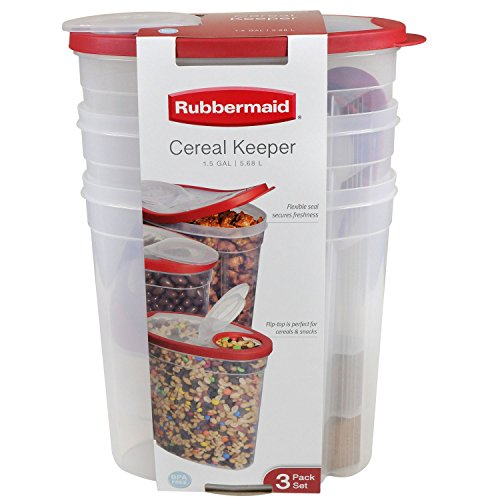 Rubbermaid Cereal Keeper 3 Pack Assorted Colors