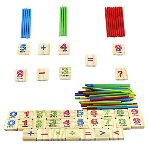 Floridivy IJzeren kist houten stok Wiskunde Puzzle onderwijsnummer Toys Bereken spelend leren tellen baby speelgoed