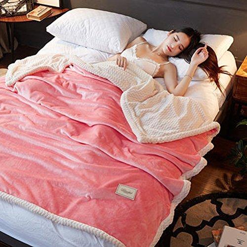 ZI LING SHOP- Double couverture de flanelle épaisse unique solide couleur couverture hiver Coral mariage double couverture blanket (Couleur : Rouge, taille : 180x200cm)