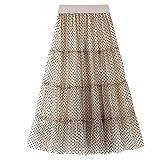Faldas de Tul largas y Plisadas con Lunares de Malla de Doble Capa y Cintura Alta Elegantes para Mujer (Beige)